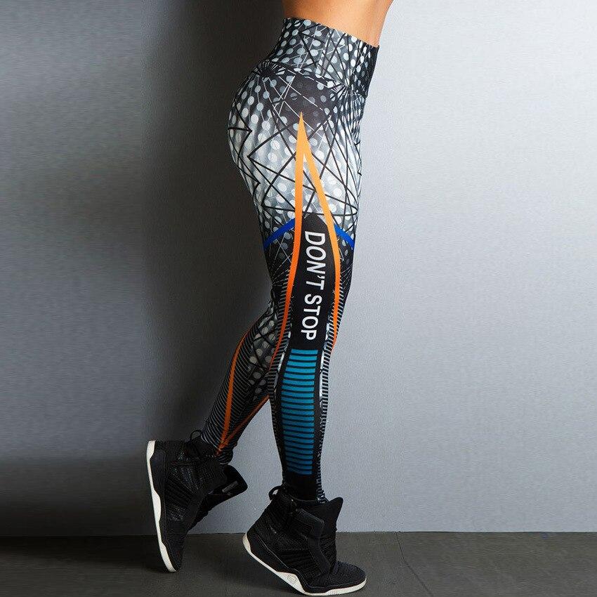 Don't Stop Letter Print Fitness Women Leggings 3D Printed Slim Jeggings High Waist Sporting Leggings Elastic Skinny Long Pants