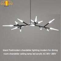 REVEN black Postmodern chandelier lighting modern for dining room chandelier ceiling lamp led acrylic AC 90V 260V