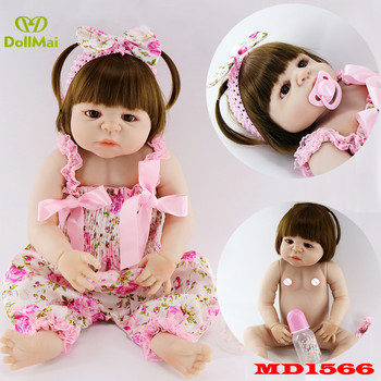 Bebes Reborn full silicone reborn baby girl dolls 22inch 55cm real baby newborn dolls fashion child gift dolls toys