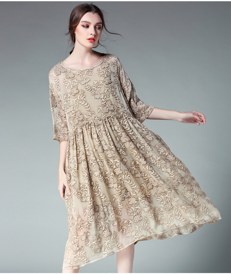 2017 Summer Women Plus Size Loose Fit embroidery Dress Set Elegant . 6a9381b3096a