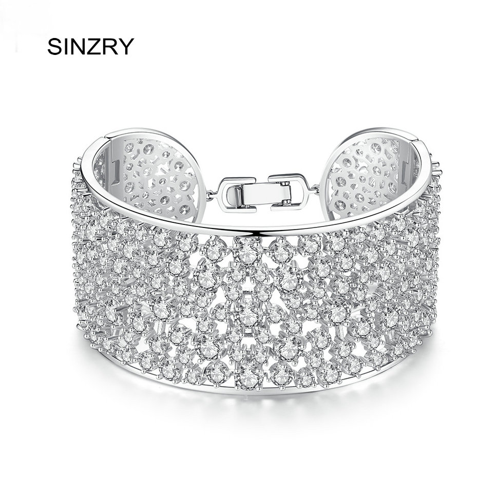 SINZRY Luxury Personality cubic zirconia cuff bangles hollow wide wedding party charm bangles hot trendy bracelets for women hollow out round pattern alloy cuff bracelets