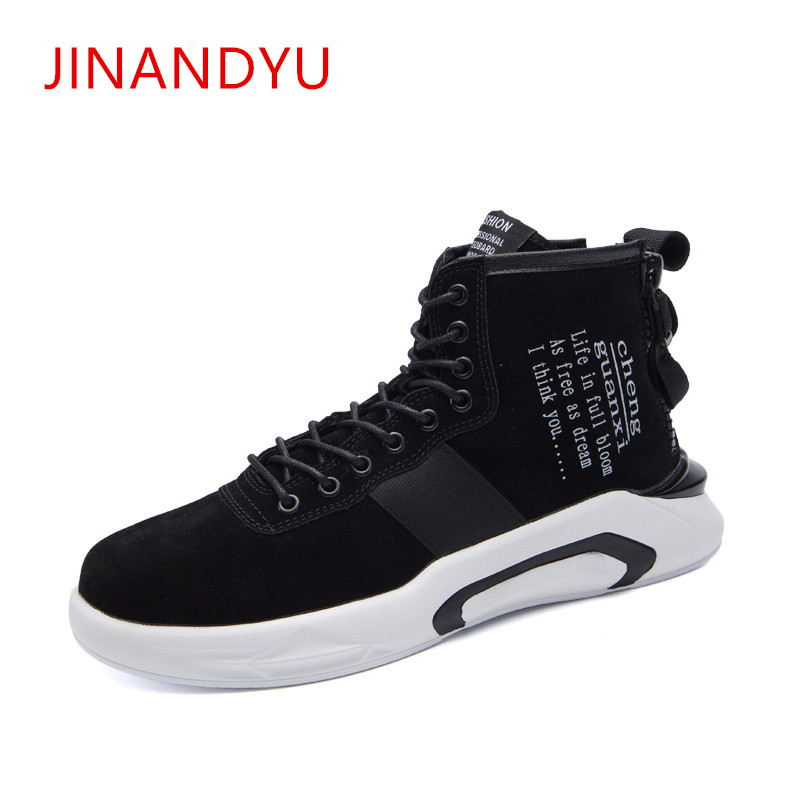 цены High Top Leather Sneakers Men Casual Shoes Fashion Luxury Trainers Ankle Boots Lace Up Casual Sneaker Brand Zipper Hip Hop Shoes