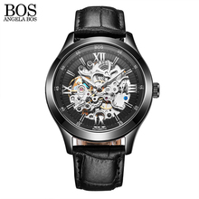 Relojes Hombre Luxury Skeleton Automatic Watch Mechanical Black Stainless Steel Waterproof Watch Men Famous Brand Wristwatch