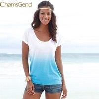 Chamsgend Newly Design Leisure Gradient Blue Short Sleeve Round Neck T-Shirt Summer Clothing For Women 160705