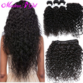 7a Brazilian Water Wave With Closure 4Pcs Lot Wet And Wavy Virgin Brazillian Hair With Closure Hair Bundles With Lace Closures