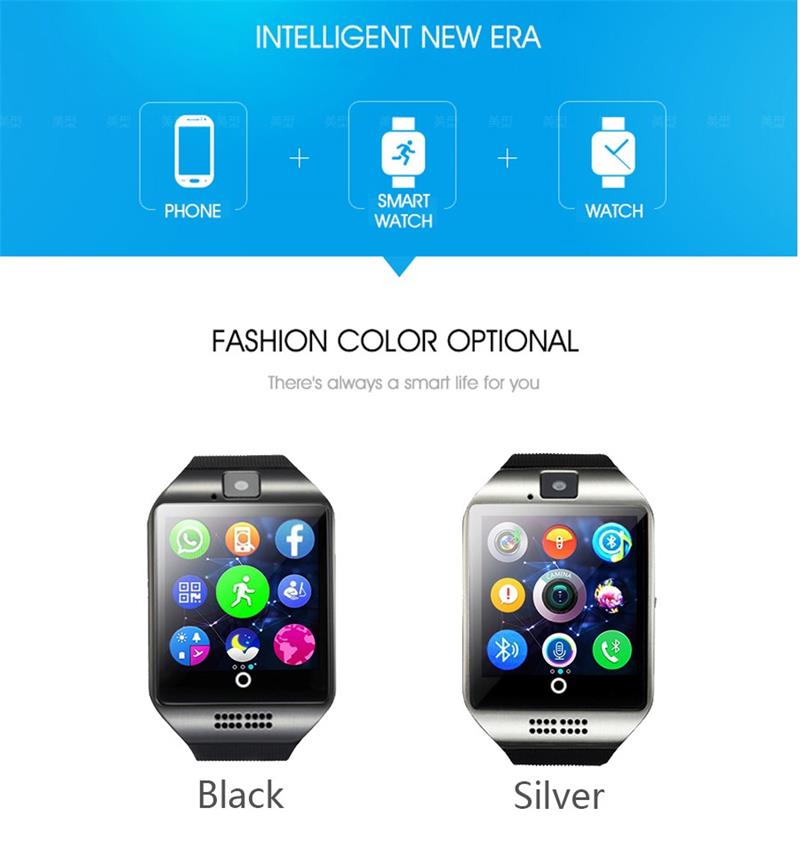 MOCRUX Q18 Passometer Smart watch with Touch Screen camera Support TF card Bluetooth smartwatch for Android IOS Phone 11