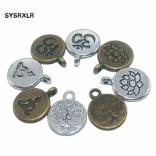 Wholesale 15 MM 20 PCS Lotus Life Tree OM Buddha Metal Zinc Alloy Charms DIY Bracelet Necklace Earring For Jewelry Making