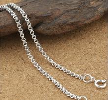 KJJEAXCMY fine jewelry S925 sterling silver men's classic vintage silver 2mm double loop silver necklace.