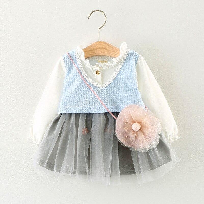 Autumn Long Sleeve Baby Party Girls Kids Ruffles Knitting Patchwork Dresses Princess Infants Tutu Ball Gown
