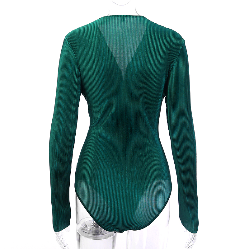 HTB1pLDUTwHqK1RjSZFPq6AwapXaH - InstaHot Sexy Long Sleeve V Neck Bodysuit for Women Summer New Fashion Green Textured Shirts Button Tops Elegant Playsuits