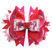Adogirl 10pcs 8'' Large Limited Edition Valentine Hair Clips Pink Heart Print Signature Hair Bows Siwa Bow Hairpins Headwear huntingtower large print edition