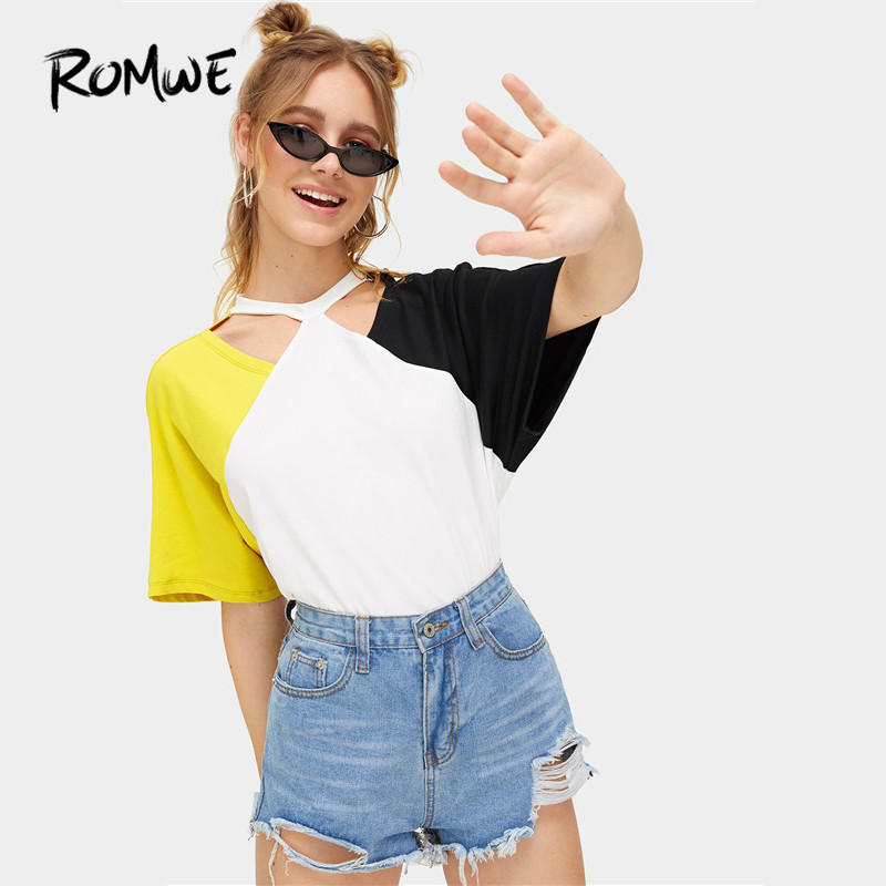 ROMWE Colorblock Batwing Half Sleeve Casual Cutout Neck Women T Shirts Summer Fashion Multicolor Cut And Sew Tops Tees in T Shirts from Women 39 s Clothing