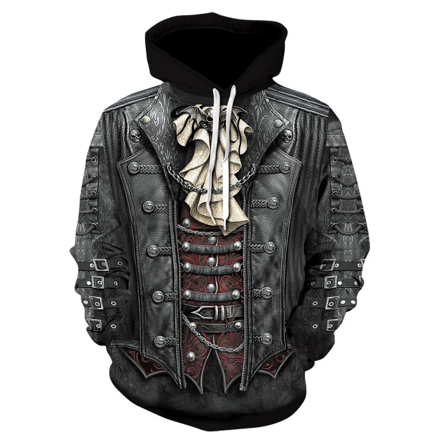 2018 New Gothic Skull Hoodie Men's Hip Hop Hoodie Men / Women's Thin 3D Sweatshirt Print Fake Denim Jacket Skull Hoodie Pullover