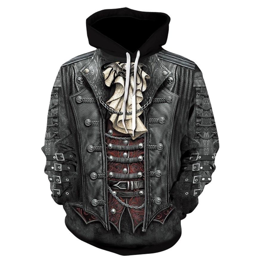 2018 New Gothic Skull Hoodie Men's Hip Hop Hoodie Men / Women's Thin 3D Sweatshirt Print Fake Denim Jacket Skull Hoodie Pullover