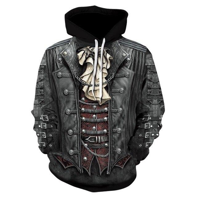 2018 New Gothic Skull Hoodie Mens Hip Hop Hoodie Men / Womens Thin 3D Sweatshirt Print Fake Denim Jacket Skull Hoodie Pullover