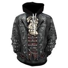 2018 yeni gotik kafatası Hoodie erkek Hip Hop Hoodie erkek/kadın ince 3D kazak baskı sahte Denim ceket kafatası Hoodie kazak