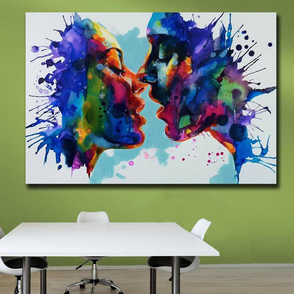 Wxkoil קיר אמנות תמונות לסלון בית תפאורה מופשט זוג נשיקה עירוני פופ אמנות בד שמן ציור מודפס לא מסגרת
