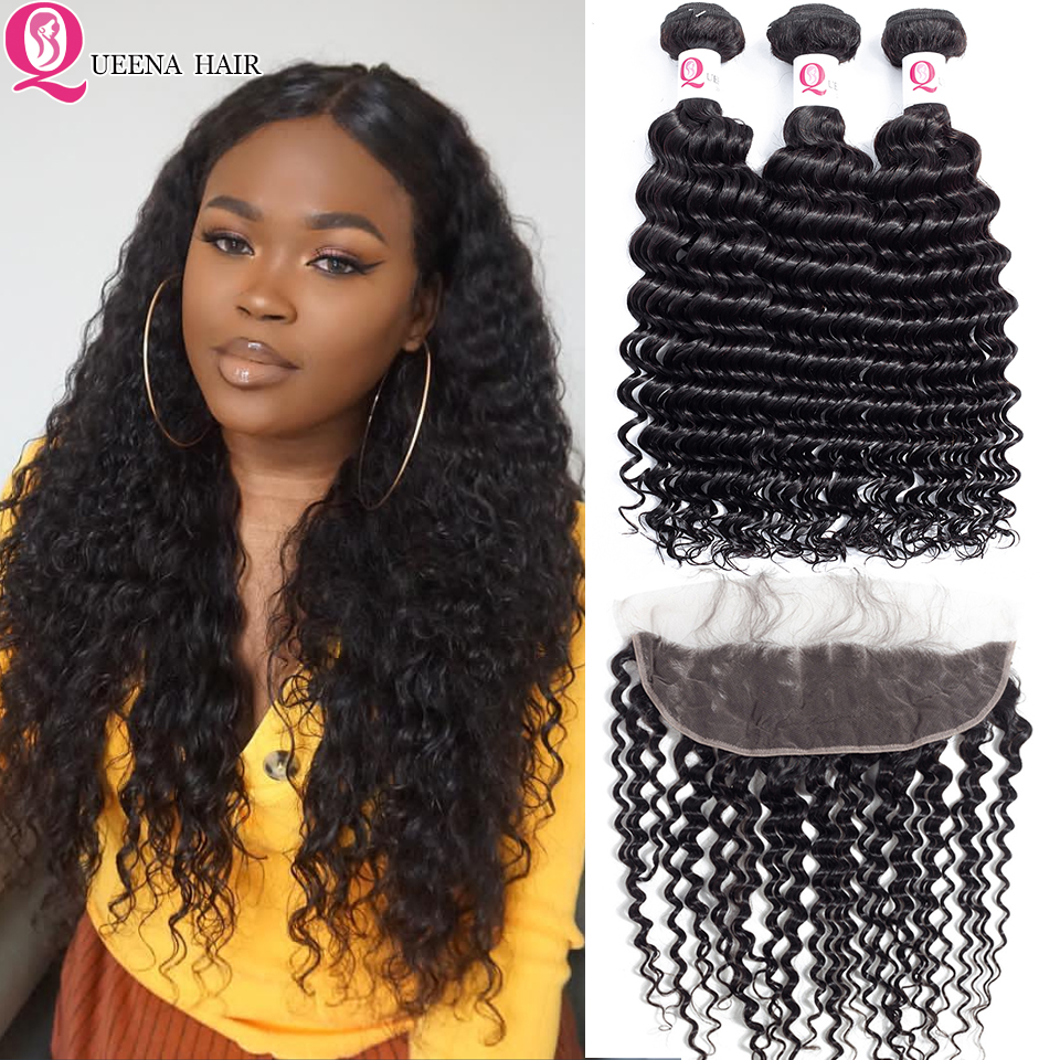 Ear To Ear Lace Frontal Closure With Bundles Natural Black Peruvian Deep Wave Curly Remy Hair Weave Bundles With Frontal Closure