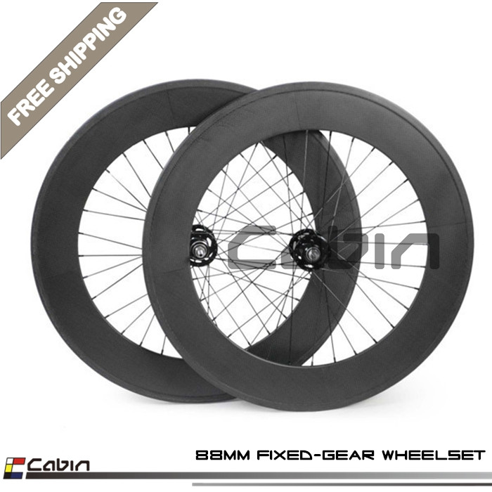 Outlet! Fixed gear full Carbon 88mm Clincher wheels carbon 700C matte or glossy painting fixie track road bicycle wheelset