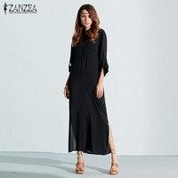 ZANZEA 2016 Summer Retro Fashion Women Sexy Casual Dress Long Sleeve V Neck Hme Split Solid
