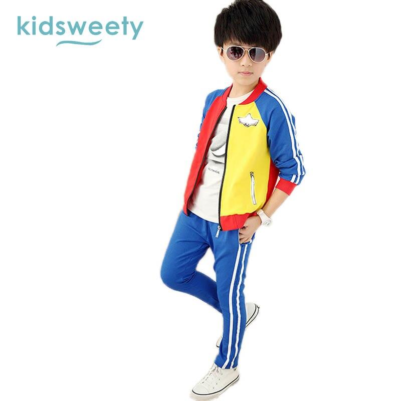 Kidsweety Boys Suits Cotton Long Sleeve Coat Pants Multicolor Sets Zipper Children Stripe Unisex Twinset Sport Casual Boys Suits