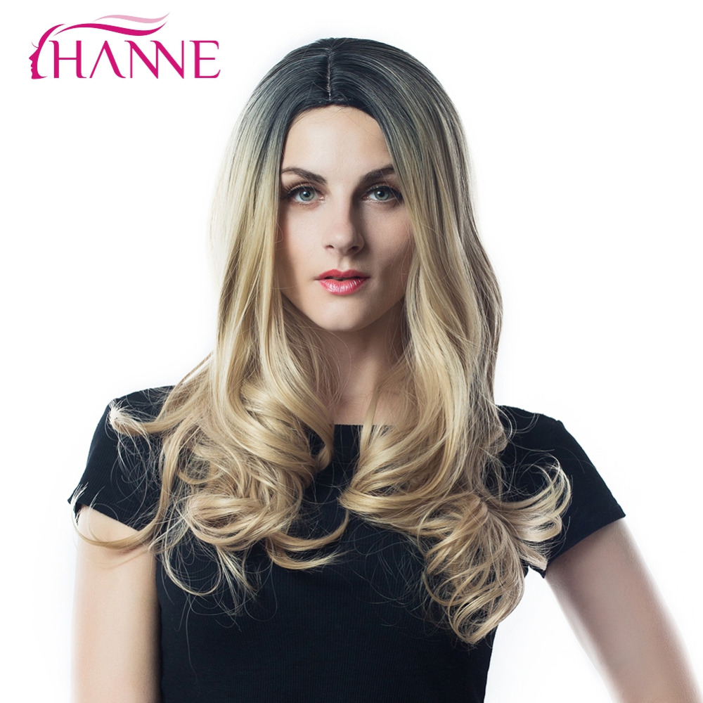 HANNE 2 Tone Ombre Wig Black to Blonde 26inch Heat Resistant Synthetic Hair Long Wavy Wigs