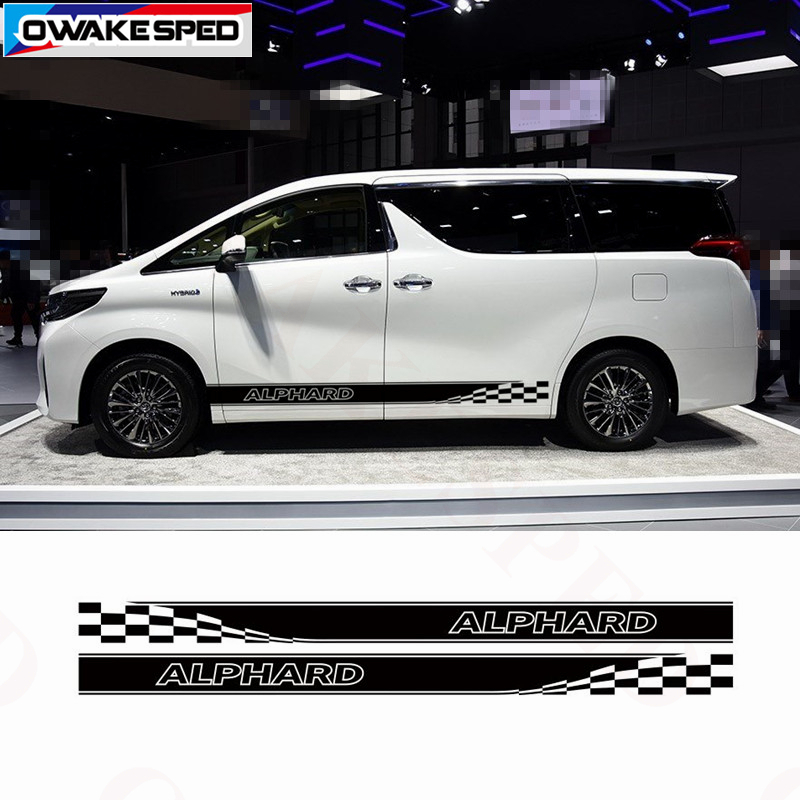Racing Lattices Stripes Car Door Side Skirt Stickers Sport Styling Auto Body Decals For Toyota Alphard Vellfire TRD MVP Model|Car Stickers| |  - title=