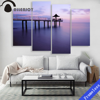 4 Pieces Purple water scenery Arbor Modern Wall Art Wall Decor Home Decoration Picture Paint on Canvas Prints Painting Unframed