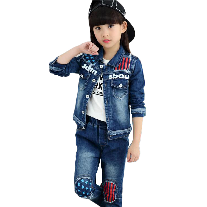 ФОТО 2016 Girls Fall Clothes Children Striped Star Print Pattern Burrs Jean Suit Outerwear Casual Disfraces Ninos Two-piece Set