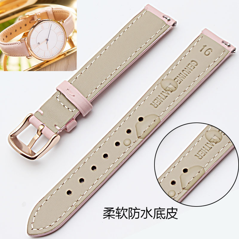 Image 3 - 14mm 15mm 16mm 17mm 18mm 19mm 20mm rose gold real leather strap, watch band, pink, blue and Gray Lady Watch free postage.-in Watchbands from Watches