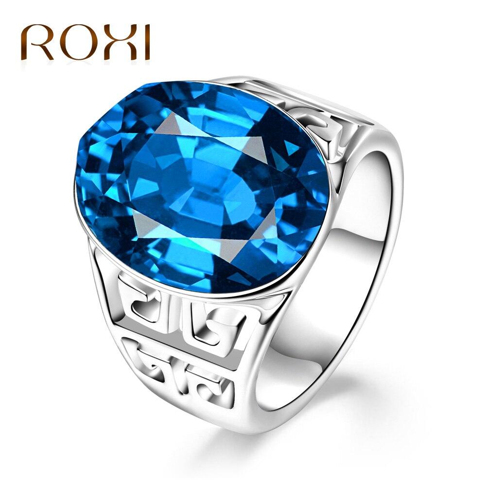 ROXI Zircon Rings Jewelry Bague Blue Stone Silver Women Luxury Trendy for Love Lady Female