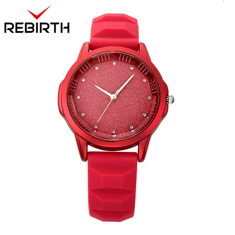 REBIRTH Starry Sky Tonneau Dial Soft Silicone Women Watches Red Simple Diamond Elegant Brand Quartz-watch Ladies Wristwatches