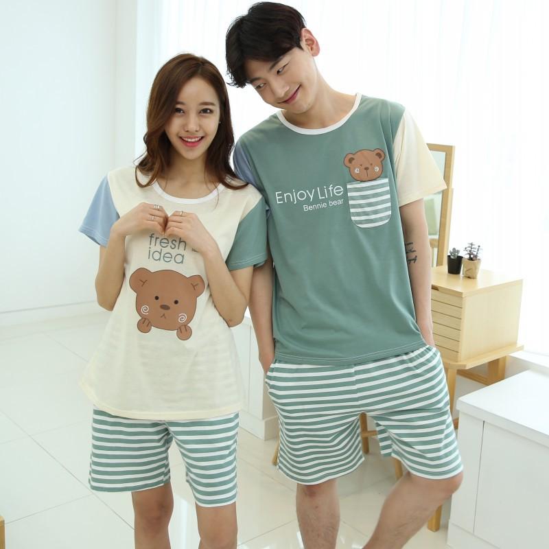 Découvrez correspondant en couleur différents types de Pyjama Femme Cute Cartoon Couples Short Sleeve Cotton ...