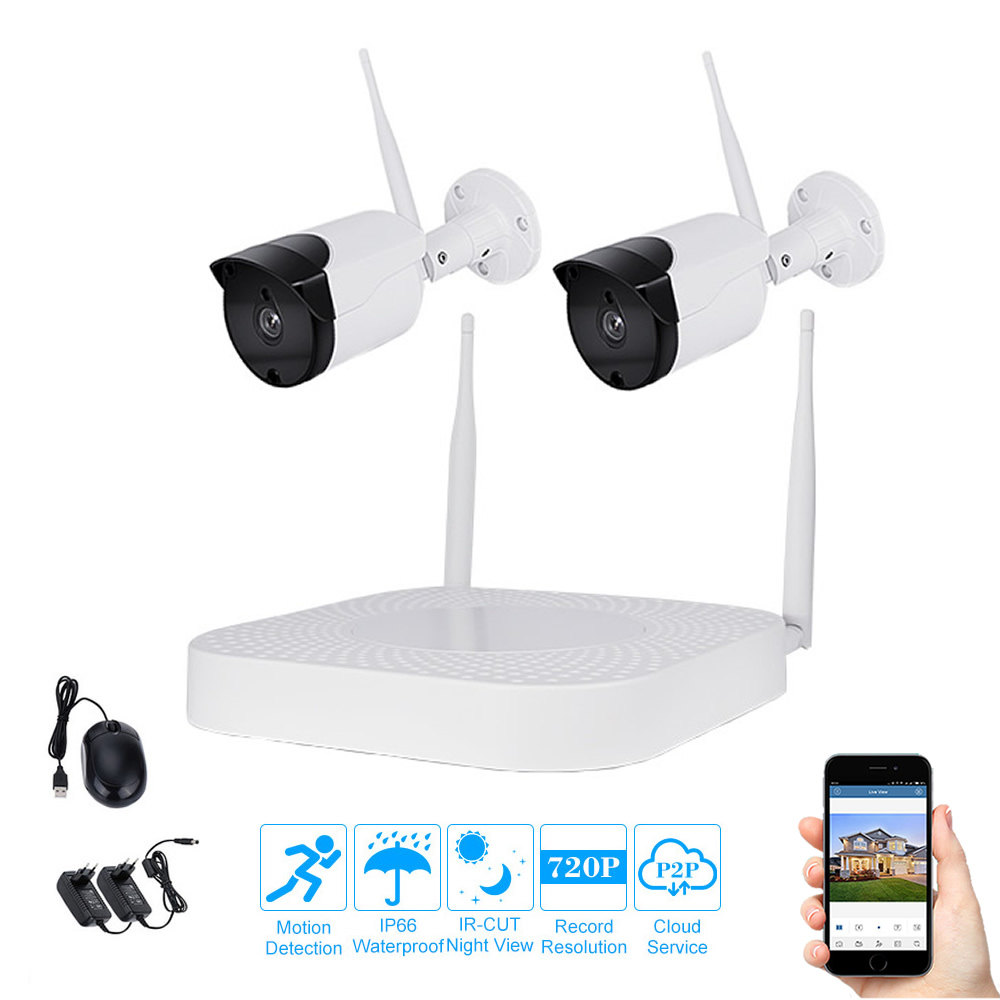 2 Camera Wireless Security System 720P Wireless Wifi Kit 4ch NVR System Remote Watch Night Vision IP Camera Surveillance Outdoor