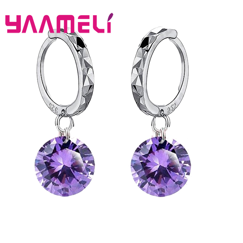 Big Discount Genuine 925 Sterling Silver 8 Colors Shiny Cubic Zirconia Dangle Earrings Crystal Jewelry For WOmen Ladies 2
