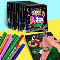 컬러 반짝이 종이 매직 아트 그림 그리기 장난감 아이 DIY 공예 학습 교육 컬러 아트 그림 카드