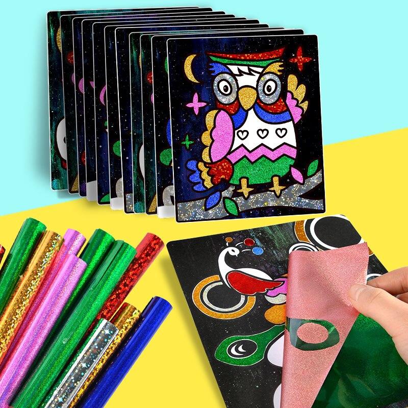 Farbe Glitter Papier Magie Kunst Malerei Zeichnung Spielzeug Kinder Färbung DIY Handwerk Lernen Bildung Farbe Kunst Malerei Karte