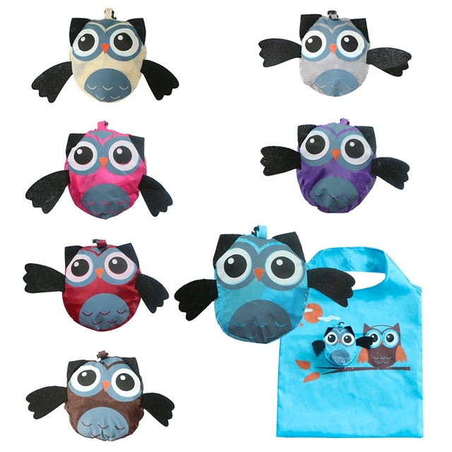 1 PCS Owl Shape Cute Animal Folding Storage Bag Eco Friendly Ladies Foldable Reusable Storage Bag Portable Travel Shoulder Bag