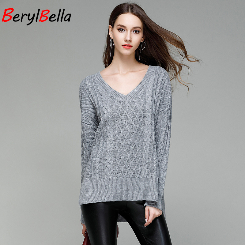 BerylBella Sweater For Women 2018 Winter Fashion Loose Casual V Neck Long Sleeve Pullovers White Women christmas Sweater Shirt
