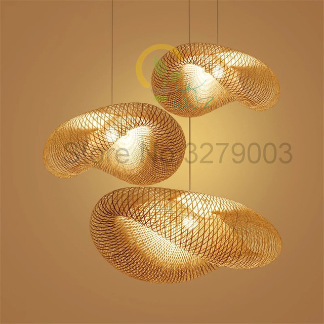 Southeast Asian Handmade Bamboo Weaving Rattan Art Pendant Lights Personality Restaurant Hotel Coffee Hanging Lamps Fixture