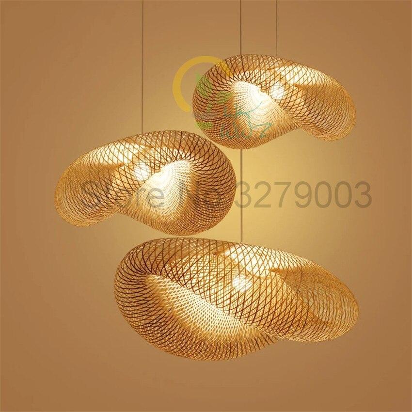 Sud-est asiatique fait à la main en bambou tissage rotin Art pendentif lumières personnalité Restaurant hôtel café lampes suspendues luminaire