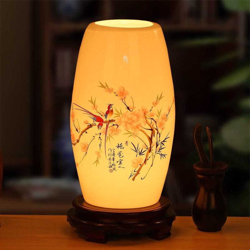 Новые керамические китайском стиле арт настольная лампа спальня ночники гостиная исследование декоративные светодиодный свет стол za1127403