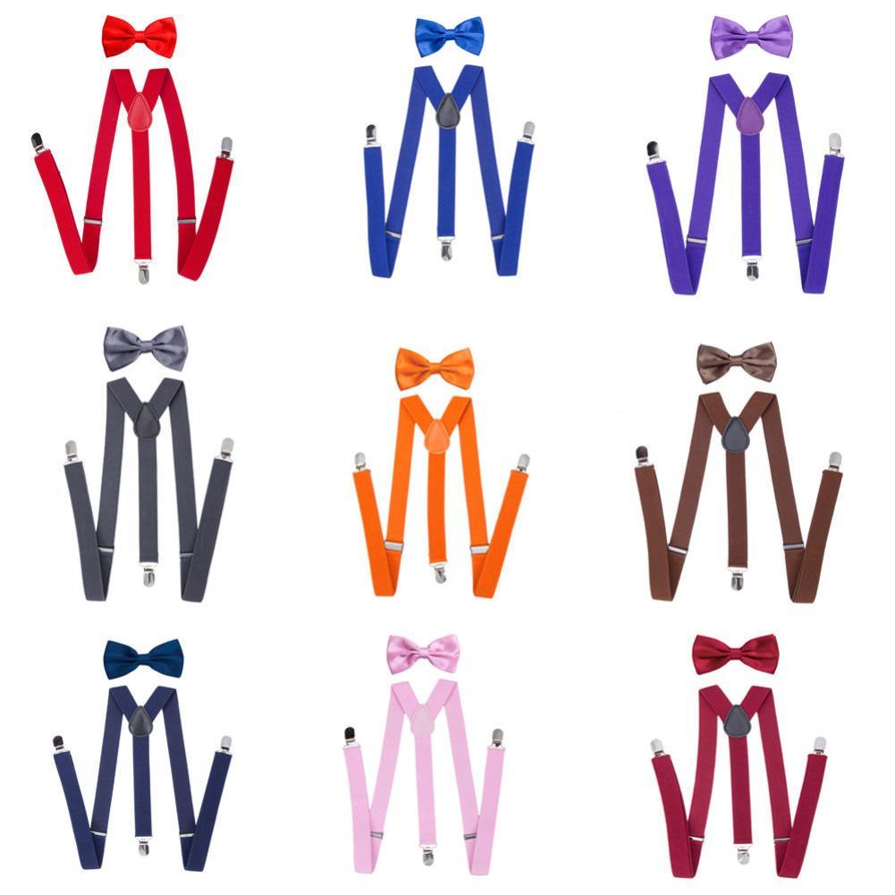 Suspenders Bowtie Set Braces For Child Adult Solid Color Unisex Clip-on Elastic Y-Shape Adjustable