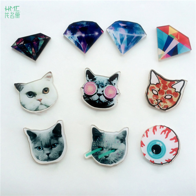 Creative Cartoon Diamond Badges 3D Acrylic Cute Kitty Brooch Pin On Badge For Clothes Bags Shoes Perfect Kids