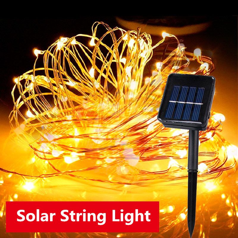 Waterproof Solar Light Garden String Light LED Copper Line Garland Night Light Solar Lamp Suitable Balcony Courtyard Christmas