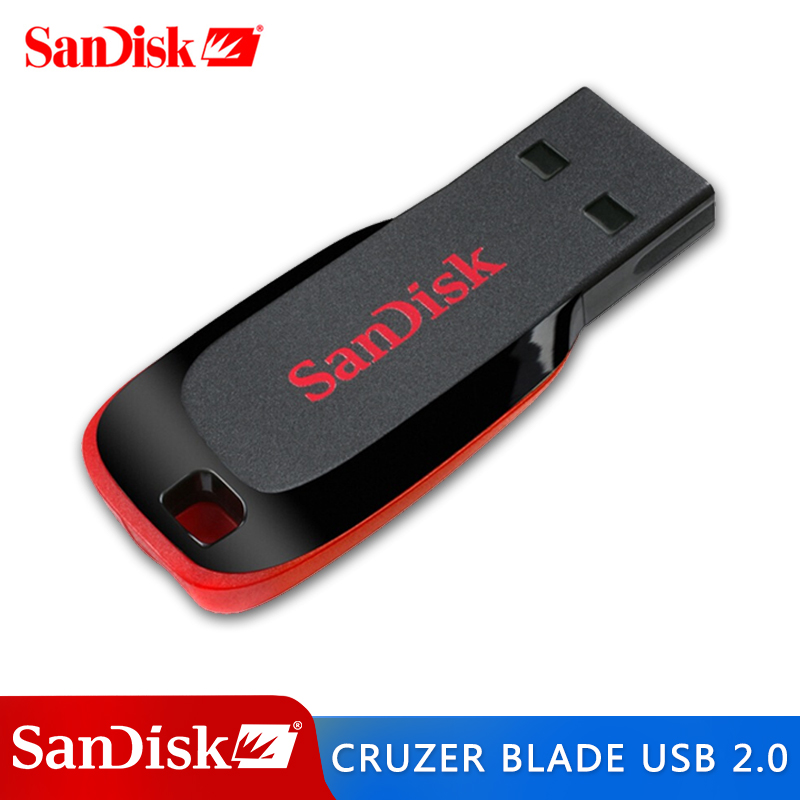 SanDisk CRUZER BLADE USB FLASH DRIVE CZ50 USB 2.0 128G 64G 32G 16G 8G 4G Mini Pen Drive PenDrive Support Official Verification