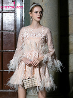 Женская сексуальная вечеринка Banquet Dress 3D Flowers Feather Tassel Элегантное платье Лето Расклешенное мини платье Розовое