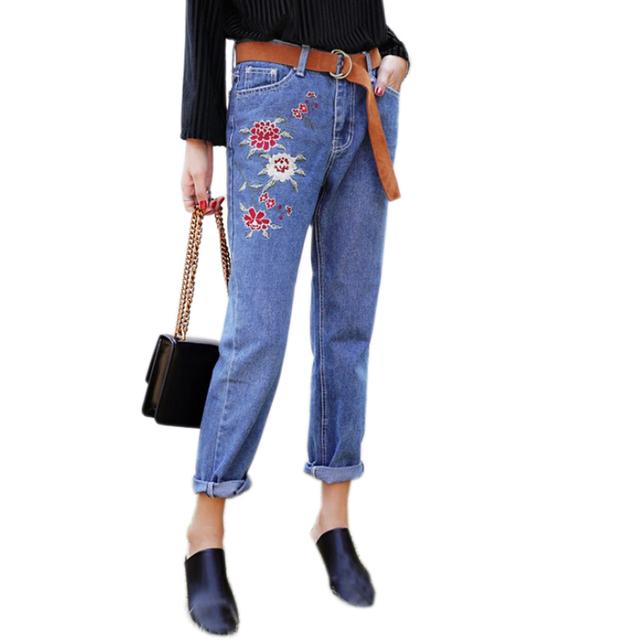 2017 Moda Bordados Flores de Ganga Para Mulheres Calças de Cintura Alta Perna Larga Retro calças de Brim Das Mulheres Plus Size Calças Femininas FL309