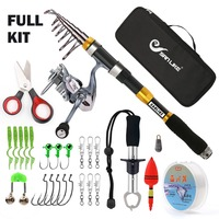 SANLIKE Telescopic Fishing Rod and Reel Combos FULL Kit, Spinning Fishing Gear Organizer Pole Sets with Line Lure oks Reel a