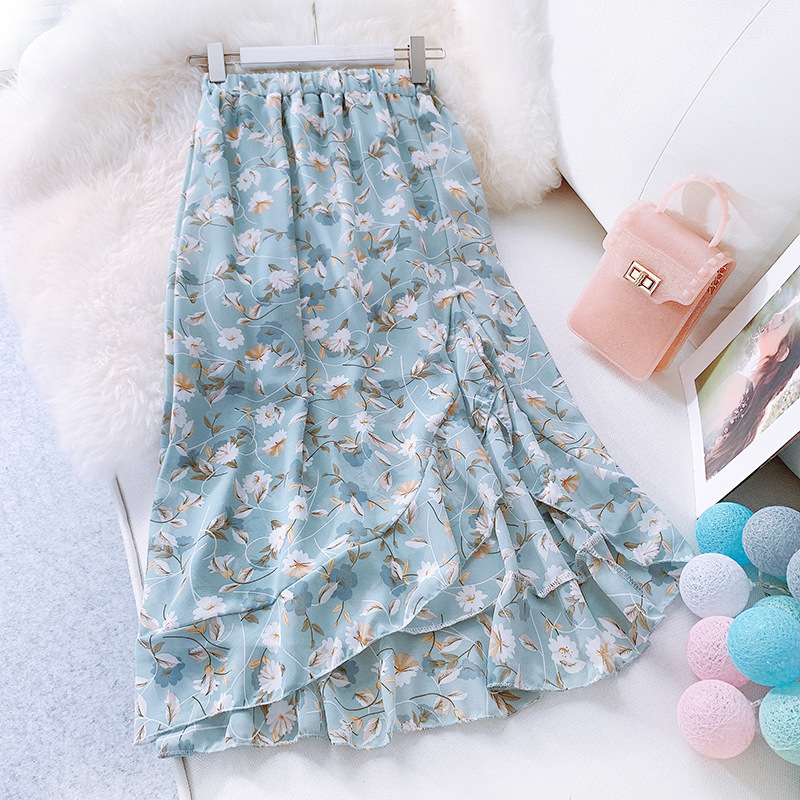 Chiffon Skirt Female Summer 2019 New Korean Vintage High Waist Irregular Split Floral Skirt Mermaid Skirt Mid Skirt